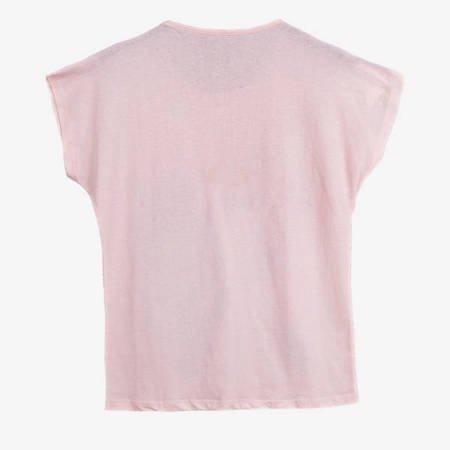 Жіноча футболка з світло-рожевим кольором з принтом - Одяг 1