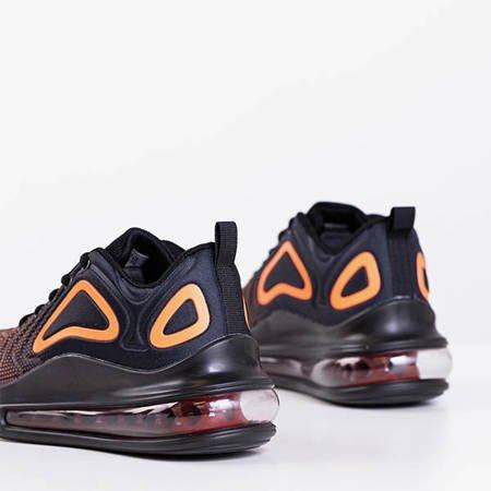 Жіноче спортивне взуття чорного та оранжевого кольору з прозорою підошвою Fusion - Взуття