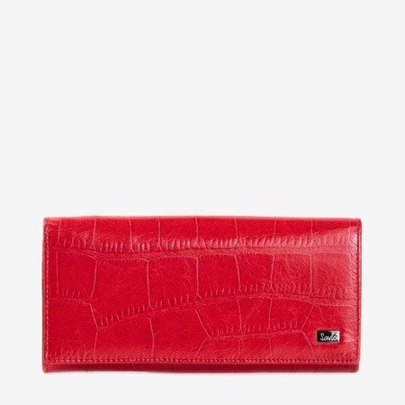 Жіночий червоний шкіряний гаманець із тисненням - Гаманець