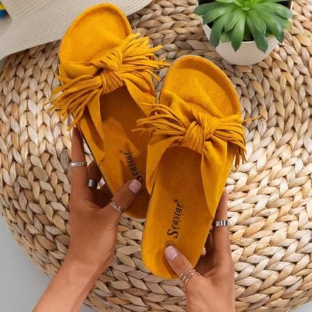 Жіночі гірчичні тапочки з бахромою Amassa - Взуття
