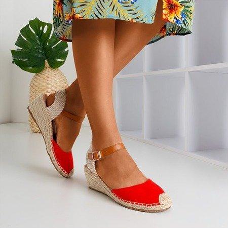 Жіночі червоні клинові босоніжки a'la espadrilles Blancoli - Взуття