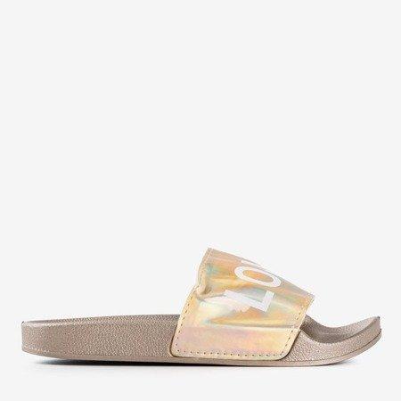 Золоті жіночі тапочки з написом HATE & LOVE - Взуття 1