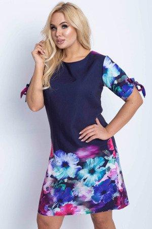 Квіткове плаття темно-синього кольору - Одяг 1