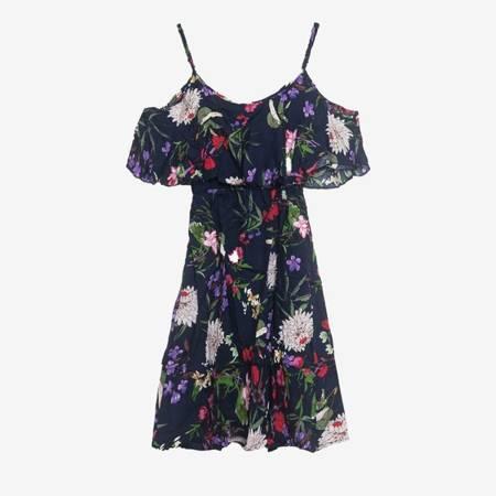 Квіткове плаття темно-синій - Одяг 1