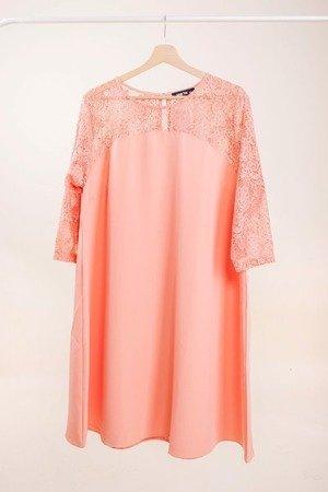Коралове плаття з мереживною обробкою PLUS SIZE - Одяг