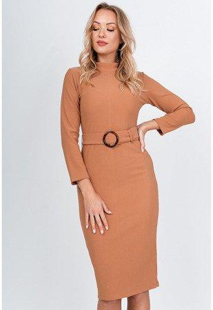 Коричневе плаття міді з поясом - Одяг