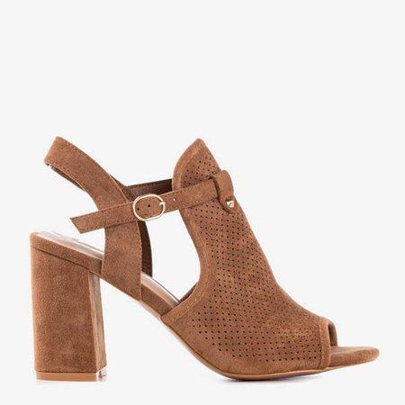 Коричневі босоніжки на високій пошті Kliven - Взуття 1