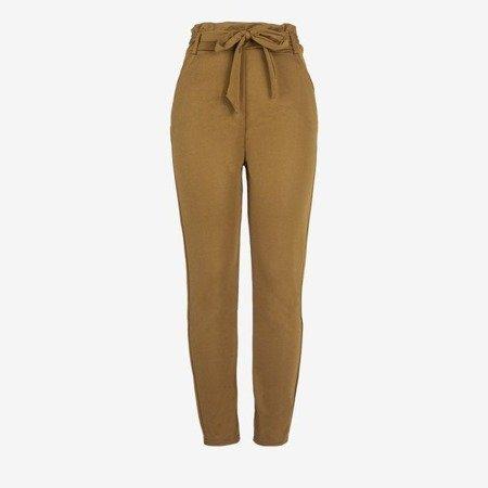 Коричневі жіночі брюки з високою талією - Штани 1
