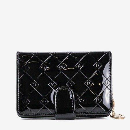 Лакований маленький жіночий гаманець чорного кольору - Гаманець