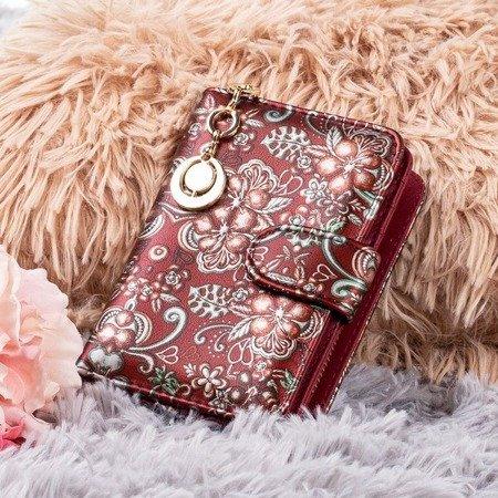 Маленький жіночий гаманець з малюнком у бордовому кольорі - Гаманець