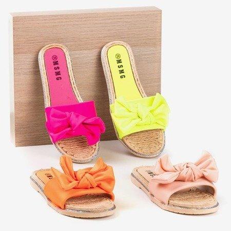 Неонові жовті тапочки з бантом Masmalla - Взуття