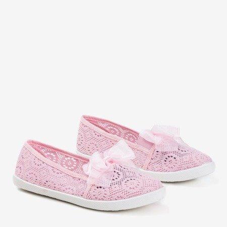 Ніжно-рожеві дівчачі ажурні накладки з бантом Farima - Взуття