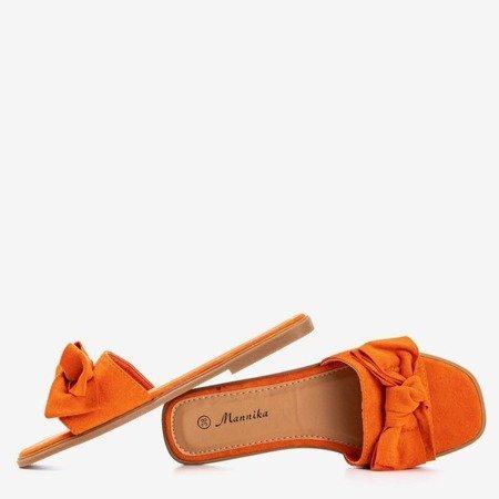Помаранчеві жіночі тапочки з бантом Mirena - Взуття 1