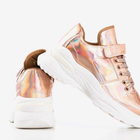 Рожеві - золоті жіночі кросівки з голографічною обробкою That''s You - Взуття 1