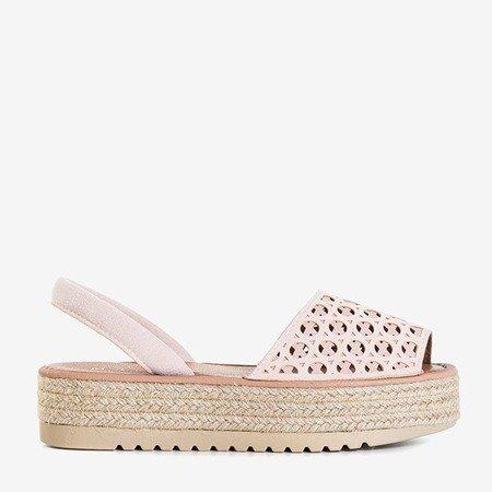 Світло-рожеві ажурні босоніжки на платформі Tieva - Взуття