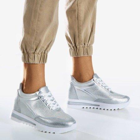 Срібні жіночі кросівки на внутрішньому клині. Підміргнути - Взуття 1