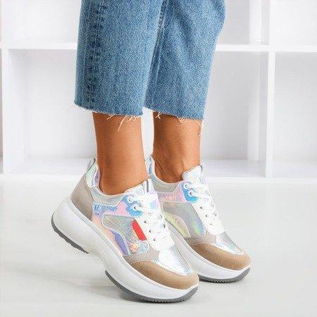 Срібні спортивні кросівки з різнокольоровими вставками Lingi - Взуття 1
