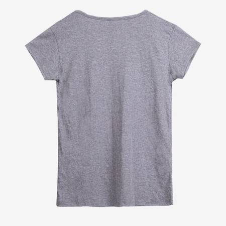 Сіра жіноча футболка з різнокольоровим принтом - Одяг 1