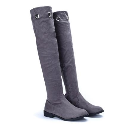 Сірі ботфорти з прикрасами Miya - Взуття