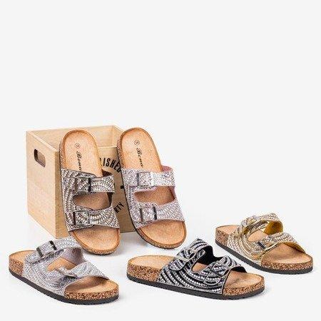 Сірі тапочки з фіанітом Summer Star - Взуття