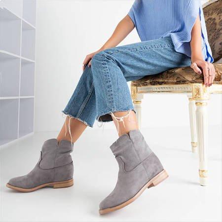 Сірі черевики типу ковбойських на прихованій танкетці Terband - Взуття