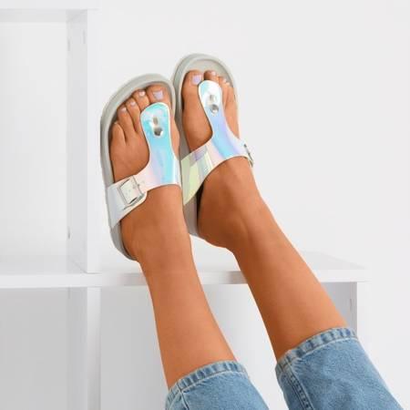 Сірі шльопанці з манільською пряжкою - Взуття