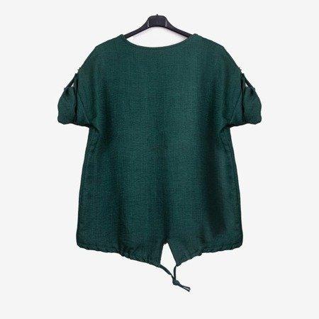 Темно-зелена жіноча туніка з принтом - Блузки 1