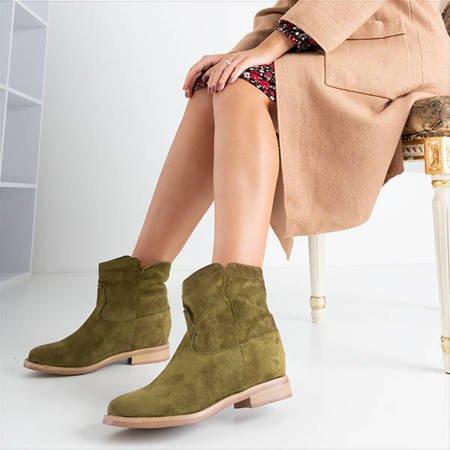 Темно-зелені черевики типу ковбойських на прихованій танкетці Terband - Взуття