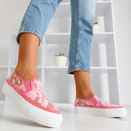 Темно-рожеві кросівки-шнурки в стилі Presilla - Obuw 1