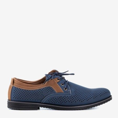 Чоловічі темно-сині туфлі з ажурним верхнім верхом Дербі - Взуття