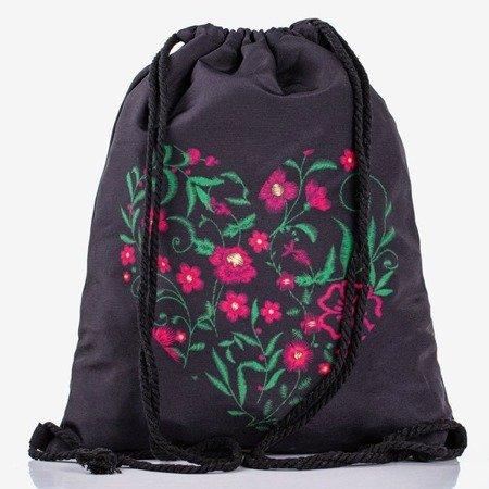 Чорний рюкзак-мішок із квітковим принтом - Рюкзаки