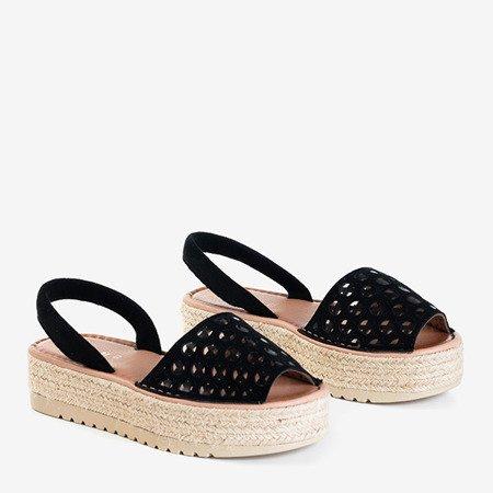 Чорні ажурні босоніжки на платформі Tieva - Взуття
