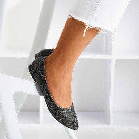 Чорні балетки для жінок зі зміїною шкірою Lilla - Взуття 1