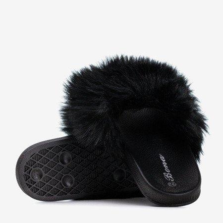 Чорні дитячі тапочки з хутром Miaue - Взуття 1