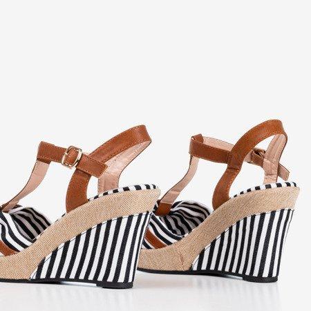 Чорні жіночі босоніжки на смугастому клині Liciana - Взуття 1