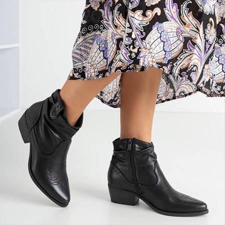 Чорні жіночі ковбойські черевики з декором Adelia - Взуття