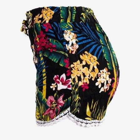 Чорні жіночі короткі квіткові шорти - Штани 1