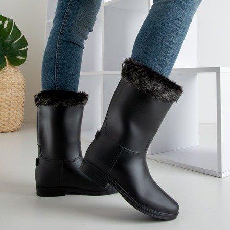 Чорні матові гумові чоботи з хутром Гумі - Взуття