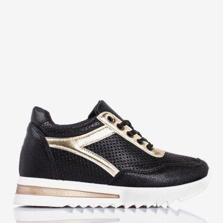 Чорні та золоті жіночі кросівки на внутрішньому клині. Підміргнути - Взуття 1