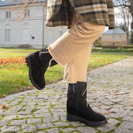 Чорні черевики із закритим клиновим каблуком Belena - Взуття