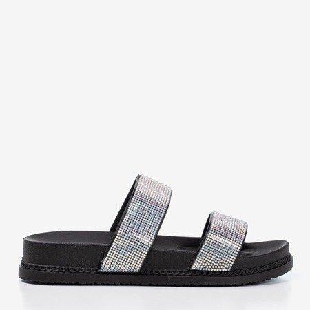 Чорні шльопанці з цирконами Bhista - Взуття 1