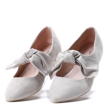 Beżowe balerinki z kokardką Julianna - Obuwie