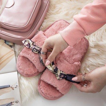 Рожеві жіночі тапочки з хутром Worren - Взуття