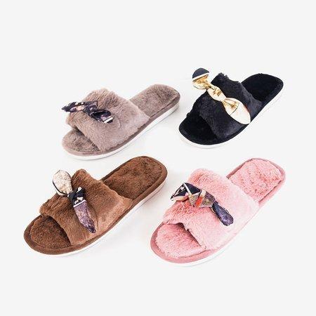 Сірі жіночі тапочки з хутром Worren - Взуття