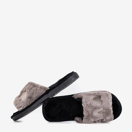 Сірі жіночі тапочки з хутром Wortan - Взуття