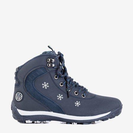 Темно-сині утеплені жіночі черевики зі сніжинками Flander - Взуття