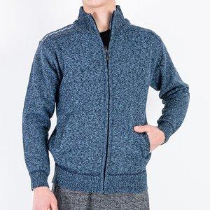 Чоловічий темно-синій светр на блискавці - Одяг