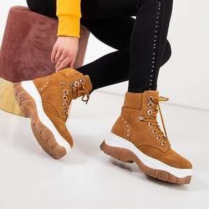 Світло-коричневі жіночі теплі черевики на масивній платформі Kazumi - Взуття